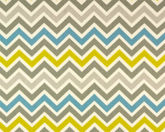 1/2 yard Chevron - Summerland Natural Zoom Zoom - Premier Prints - Zig Zag - Gray, blue, citron yellow