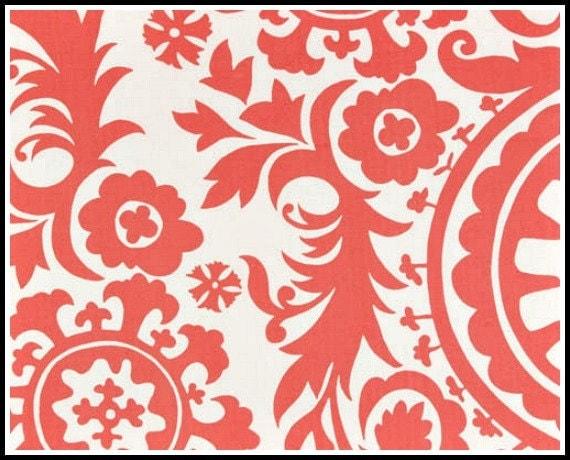 1 yard - Premier Prints  - Suzani in Coral / White - 1 yd
