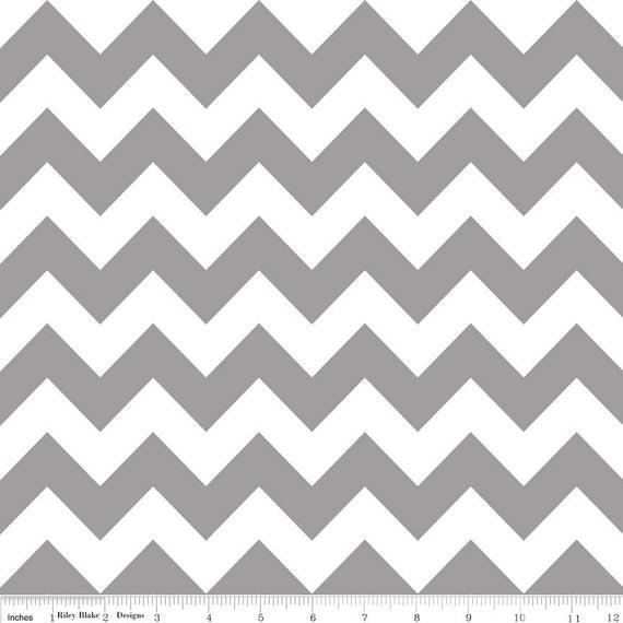1/2 yard Grey Chevron - Riley Blake MEDIUM Chevron - Grey / White Zig Zag - LAST 1/2 YARD