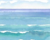 Abstract Seascape Watching Waves 5 - A5 greeting card - blank inside