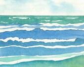 Seascape Porthmeor St Ives A5 greeting card - blank inside