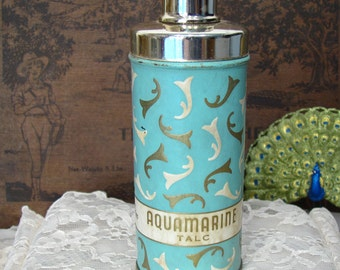 Revlon Aquamarine Talc Vintage Powder Tin with Shaker Top