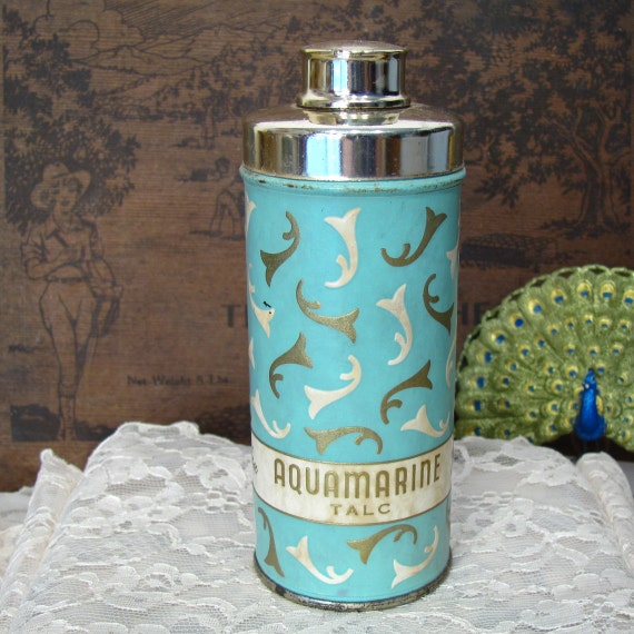 Revlon Aquamarine Talc Vintage Powder Tin with Shaker Top
