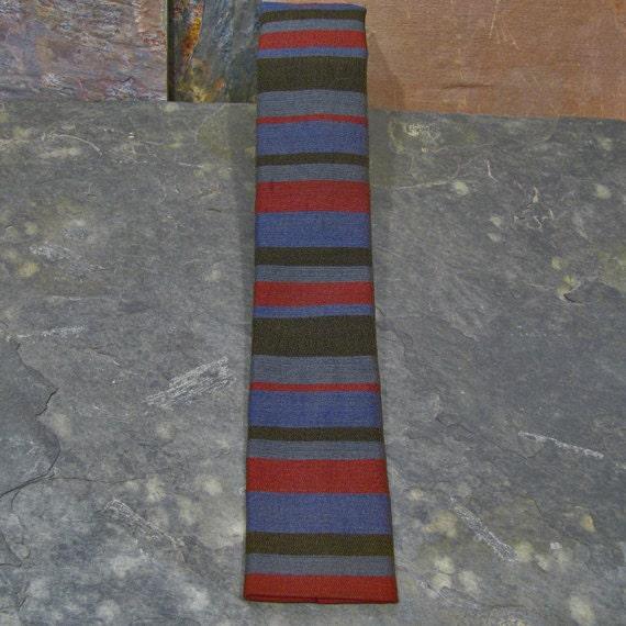 Ernst Nizam: Skinny Striped Square Tie - Vintage 1960s - Mad Men Era Skinny Tie