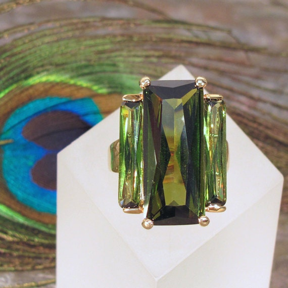 Peridot Crystal Cocktail Ring - Size 7 - Gold Plated Setting with Olive Green Crystal