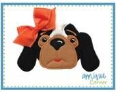 162 Hound dog girl applique digital design for embroidery machine by Applique Corner
