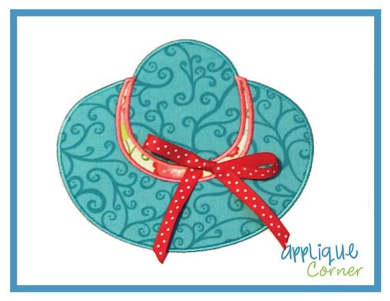 529 Beach Hat applique digital design for embroidery machine by Applique Corner