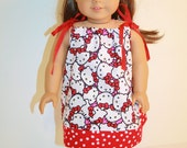 "Doll PillowCase Style Dress/ Fits American Girl 18 "" Doll Clothes/Clothing Hello Kitty"