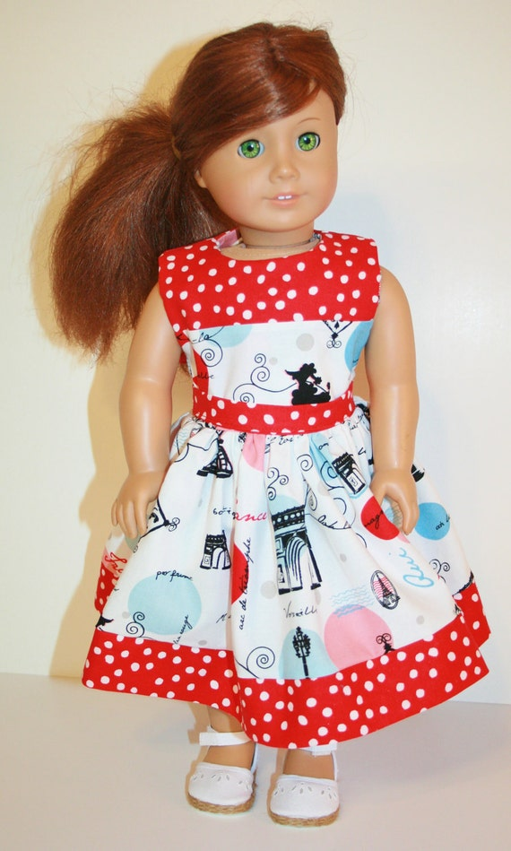 "Doll Party Dress/ Fits American Girl 18 "" Doll Clothes/Clothing / Red Polka Dot / Paris Love France Eiffel Tower Poodle"