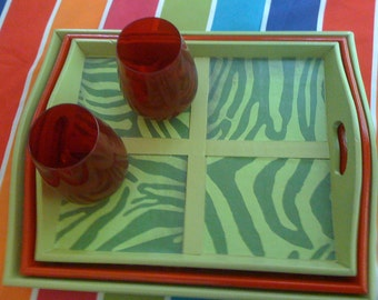 Set of 3 Wood Serving Trays Hand painted Zebra in Lime Green & Red, Outdoor Party Serving Trays, Hostess Trays Gift, Summer Entertaining