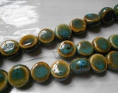 RESERVED Raku Ceramic Blue and Brown Earthy Rustic Lentil Coin Beads, 3 Beads, 16mm Approx