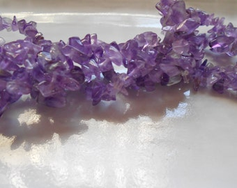 "Purple Amethyst Chip Gemstone Beads, 17"" Strand, Destash, 5-10mm"