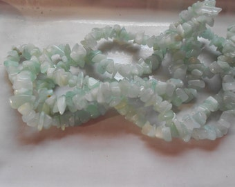 "Aqua Blue Amazonite Beads Chips, 5-10mm Organic Shapes, 18"" Strand, Destash"