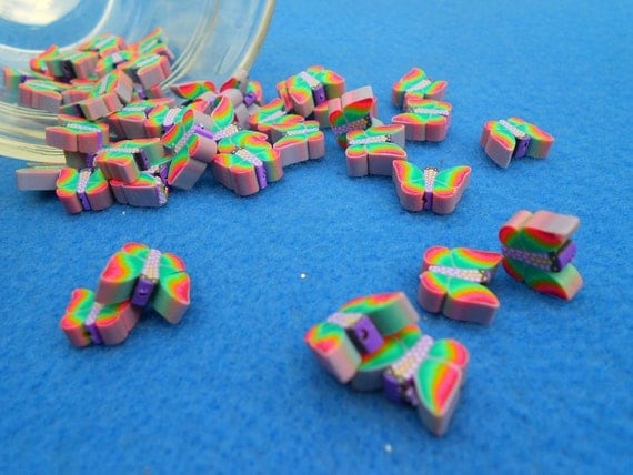 Polymer Clay Spring Rainbow Butterfly Beads, Colorful and Fun, 50 Pieces Destash