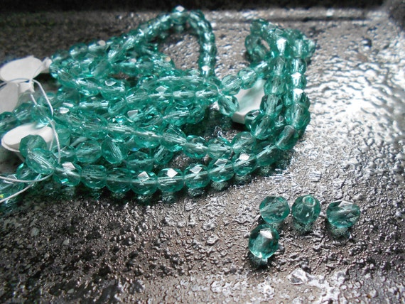 "TWO 8"" Strands Light Aqua Czech Faceted Rounds, 6mm"