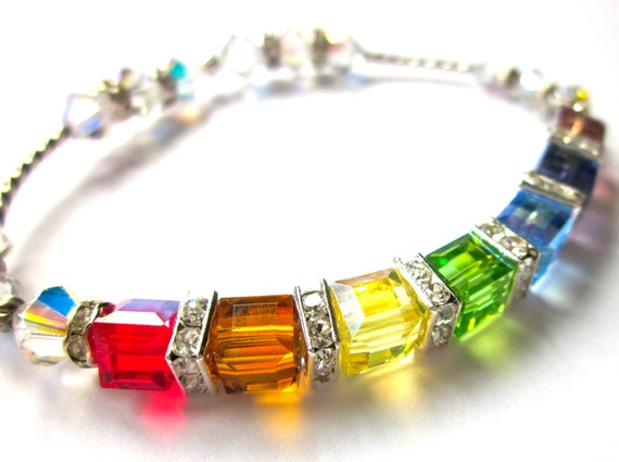 Covenant Cube Bracelet,  Swarovski Bracelet, Rainbow Bracelet, Christian Jewelry, Best Seller