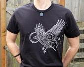 White Spirit Raven Screen Printed on Black Nano Super Soft and Smooth T-shirt