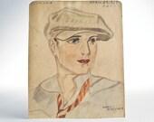 1929 portrait watercolor pencil sketch signed drawing