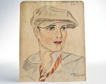 1929 portrait watercolor pencil sketch signed drawing