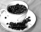 Coffee Beans - Teacup Kitchen, Black and White, Gift, Dining room, Java-Inspired Wall Art, Home Decor. 8x10