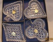 RESERVED for September - Czech, Bohemian Glass Bridge Set, All 4 Card Suits, Original Stickers & Box