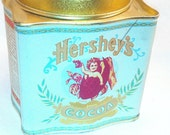 Vintage Tin Can Hersheys Blue Can with pink and gold font and top