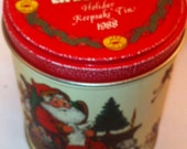 Vintage Tin Can Life Savers 1988 Santa Christmas can with red top lid