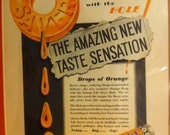 Vintage Antique Picture 1930 Framed Picture Orange Life Savers Ad 30s 30's Thirties