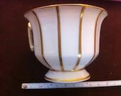 La Porcelaine de Baudour Cerabel Belgium Porcelain White Cup Gold Stripe