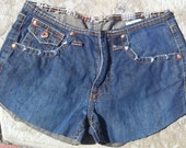 STUDDED SHORTS Puma Plantini Coogar Jeans Size 31 Distressed Shorts Blue Silver Pyramid Studs Orange Stiching