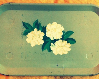 Vintage Tray Custom Home Decor Shabby Cottage Chic Tray Table Green Painted Cream Beige Flowers