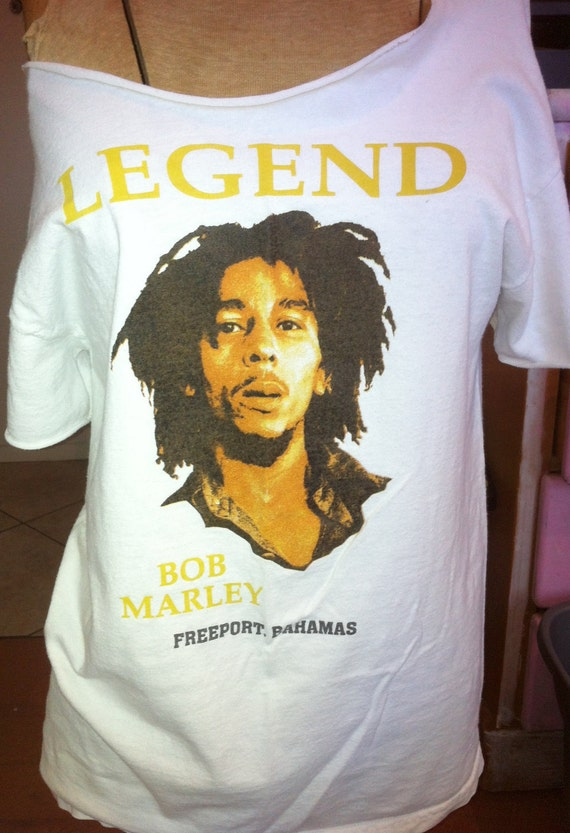 Bob Marley White Tshirt Upcycled Off the Shoulder Short Sleeves Faded Cut Distressed Medium Cut back