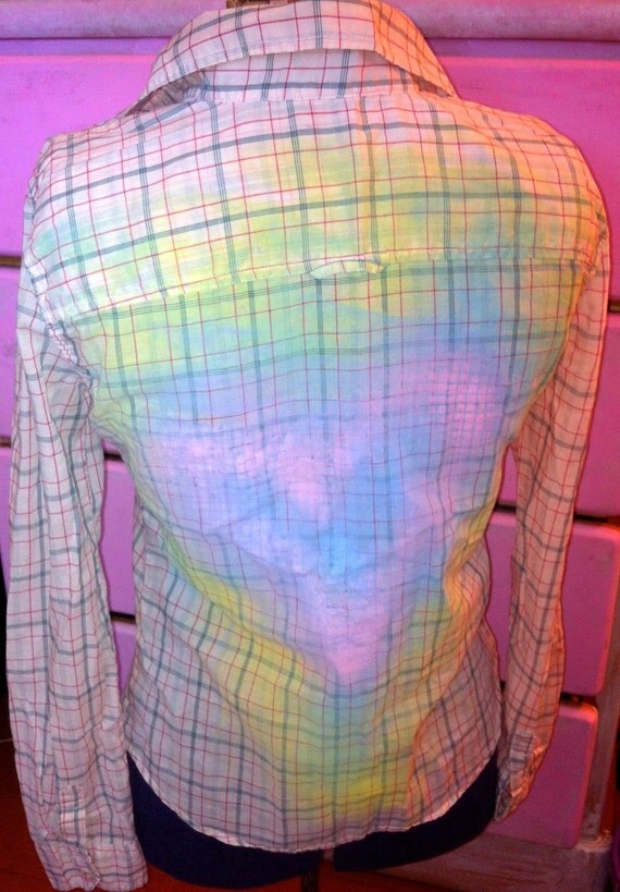RESERVED NALIA Love Candy Long Sleeve Shirt Heart American Eagle Outfitters Sheer Beige Plaid Upcycled Long Sleeves Spray Painted Sz. XS
