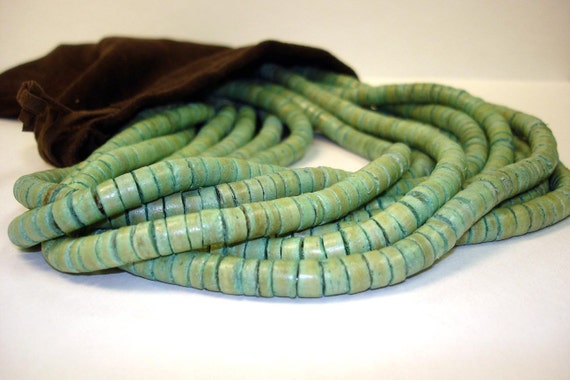 "23"" Turquoise Coco Wood Heishi Drum Spacer 3-4mm Bead Strand (2 Strands)"