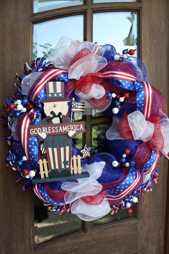 """July Fourth 4th Patriotic Mesh Wreath 26"""""""