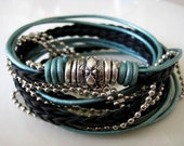 """Boho Chic Pearlized Teal and Black Leather Wrap Bracelet with Silver Accents... Magnetic Clasp ...""""FREE SHIPPING"""""""