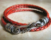 "Antique Tan Braided Leather Triple Wrap Bracelet with Rope Design S Hook Silver Clasp ""FREE SHIPPING"""