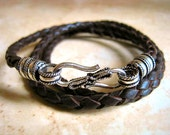 "Espresso Brown Braided Leather Triple Wrap Bracelet with Rope Design S Hook Silver Clasp ""FREE SHIPPING"""