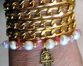 "Boho Chic Endless Fresh Water Pearl and Hamsa Chain Wrap Beaded Bracelet....""FREE SHIPPING"""