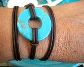"""Boho Chic Good Luck Turquoise Circle Triple Wrap Brown Distressed Leather Bracelet with Silver Accents....""""FREE SHIPPING"""""""