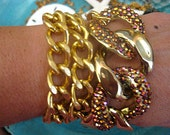 "Tres Chic Wrap Gold Chunky Chain Stacking Bracelet Gold AB Crystal Links...""FREE SHIPPING"""