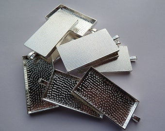 10 x Rectangle silver plated pendants - blank bezel cabochon setting