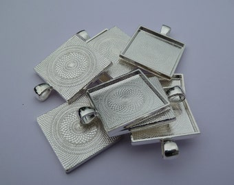 10 x  Square 1 inch silver plated pendant trays- blank bezel cabochon setting