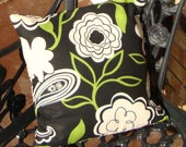 Handmade Pillow Cover, Floral Black, Green and White Pattern, 14 x 14, Envelope Closure, Home Decor, Flowers