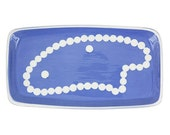 medium rectangular ceramic tray with pearl necklace and earrings