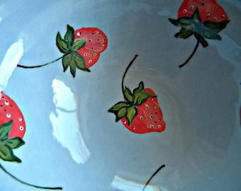 blue strawberry bowl