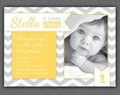 First Birthday Invitation Chevrons - Chevron Photo Printable Invite - Grey and Yellow - Yellow Chevron - 1 Year Old or ANY Age - ANY Color
