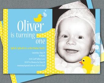 Ducky First Birthday Custom Photo Invitation Printable - Yellow Rubber Duckies - Splish Splash it's a Birthday Bash