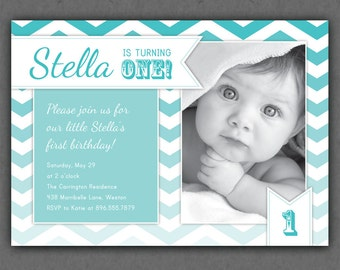 Ombre Chevrons Birthday Invitation - Chevron Ombre Photo Printable Invite - Pink - Turquoise - 1 Year Old or ANY Age - First Birthday