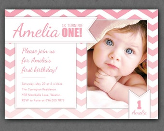 Ombre Pink Chevrons Invitation - Chevron Ombre Photo Printable Invite - Pink - Turquoise - 1 Year Old or ANY Age - First Birthday